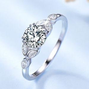 Vintage CZ Diamond Engagement Ring Silver Art Deco